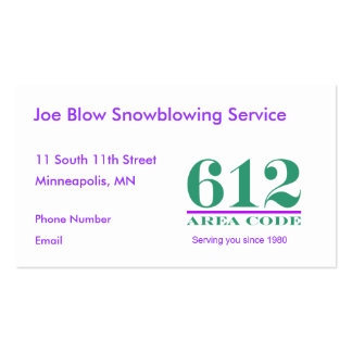 Minnesota Area Codes Pack Of Standard Business Cards