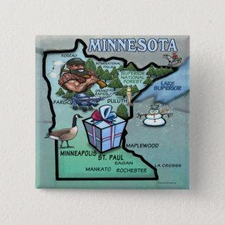 Minnesota Cartoon Map 15 Cm Square Badge