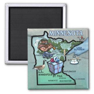 Minnesota Cartoon Map Square Magnet