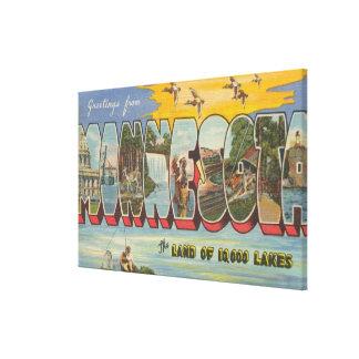 Minnesota (Ducks) - Large Letter Scenes Canvas Print