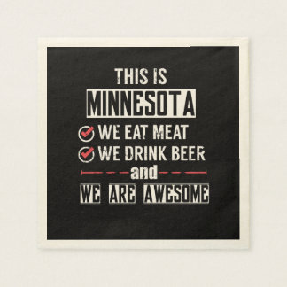 Minnesota Eat Meat Drink Beer Awesome Disposable Serviette