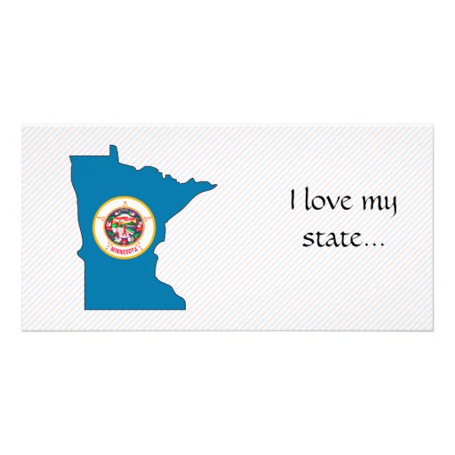 Minnesota Flag Map Personalised Photo Card