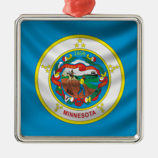 Minnesota Flag Silver-Colored Square Decoration