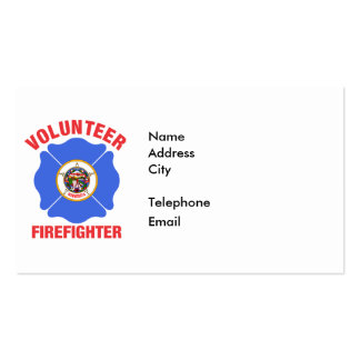 Minnesota Flag Volunteer Firefighter Cross Pack Of Standard Business Cards