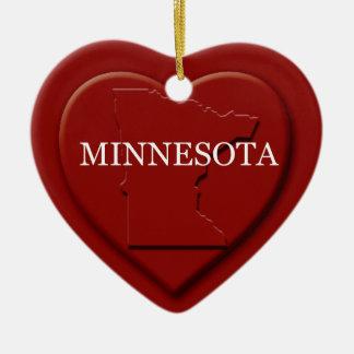 Minnesota Heart Map Christmas Ornament