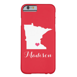 Minnesota Heart Red Custom Monogram Barely There iPhone 6 Case
