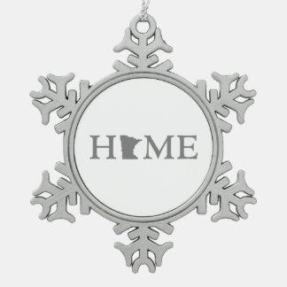 Minnesota home snowflake pewter christmas ornament