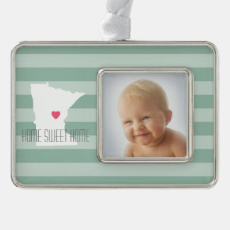 Minnesota Home State Love with Custom Heart Silver Plated Framed Ornament