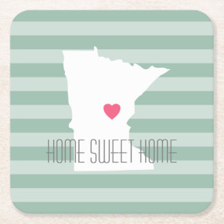 Minnesota Home State Love with Custom Heart Square Paper Coaster