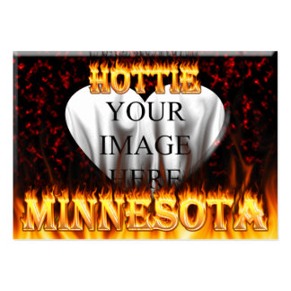 Minnesota Hottie fire and red marble heart. Pack Of Chubby Business Cards