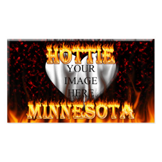 Minnesota Hottie fire and red marble heart. Pack Of Standard Business Cards