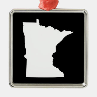 Minnesota in White and Black Christmas Ornament
