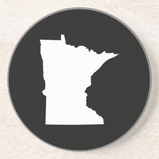 Minnesota in White and Black Sandstone Coaster