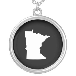Minnesota in White and Black Silver Plated Necklace