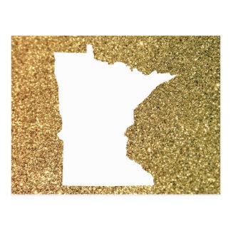 Minnesota in White and Gold Glitter Postcard