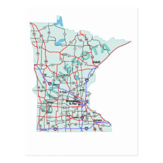 Minnesota Interstate Map Postcard