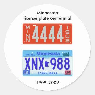 Minnesota license plate centennial classic round sticker