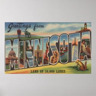 Minnesota (Lighthouse) - Large Letter Scenes Poster