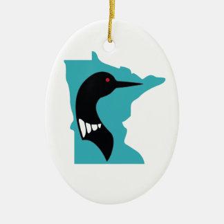 Minnesota Loon Black on Teal Christmas Ornament