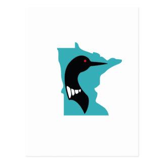 Minnesota Loon Black on Teal Postcard