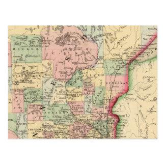 Minnesota Map by Mitchell Postcard