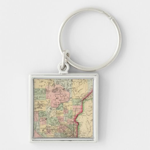 Minnesota Map by Mitchell Silver-Colored Square Key Ring