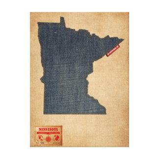 Minnesota Map Denim Jeans Style Gallery Wrap Canvas