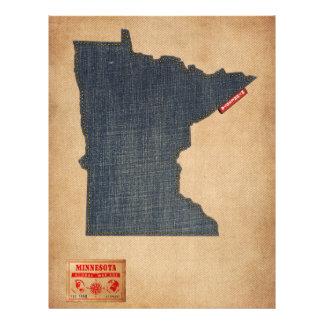 Minnesota Map Denim Jeans Style Flyer Design
