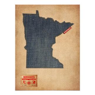 Minnesota Map Denim Jeans Style Photograph