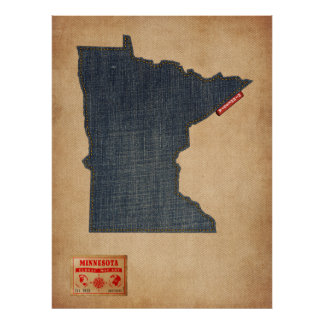Minnesota Map Denim Jeans Style Print