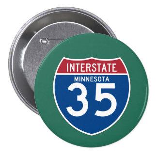 Minnesota MN I-35 Interstate Highway Shield - 7.5 Cm Round Badge