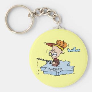 Minnesota MN Ice Fishing Vintage Travel Souvenir Key Ring