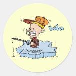 Minnesota MN Ice Fishing Vintage Travel Souvenir Round Stickers