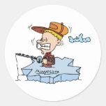 Minnesota MN Ice Fishing Vintage Travel Souvenir Round Sticker