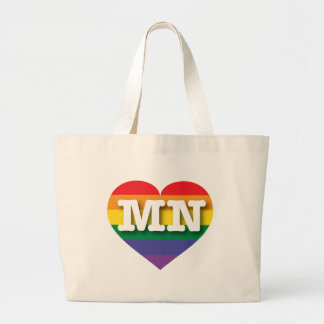 Minnesota MN rainbow pride heart Bags