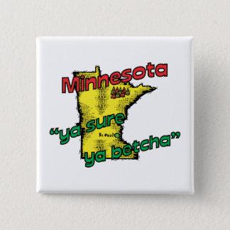 Minnesota MN US Motto ~ Ya Sure Ya Betcha 15 Cm Square Badge