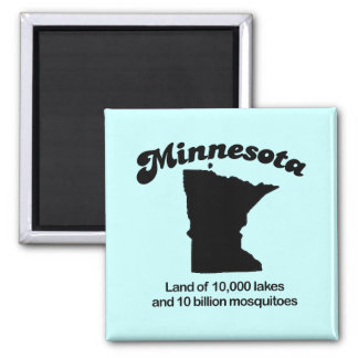 Minnesota Motto - Land of 10,000 lakes Square Magnet