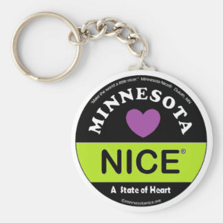 """ Minnesota Nice -a State of Heart"" Keychain"