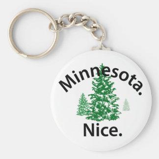 Minnesota Nice.  Period! (black text) Basic Round Button Key Ring