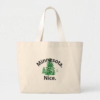 Minnesota Nice.  Period! (black text) Large Tote Bag