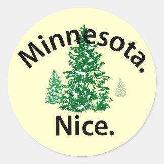 Minnesota Nice.  Period! (black text) Round Sticker