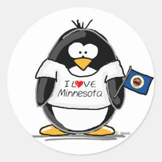 Minnesota penguin classic round sticker