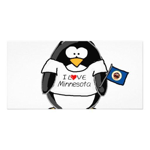 Minnesota penguin customised photo card