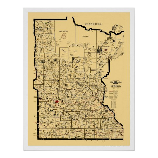 Minnesota Railroad Map 1897 Poster