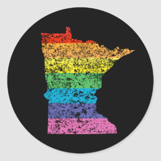 minnesota rainbow round sticker