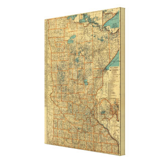 Minnesota road map gallery wrapped canvas