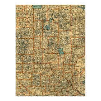 Minnesota road map postcard