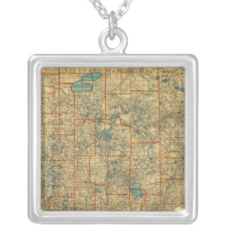 Minnesota road map silver plated necklace