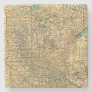 Minnesota road map stone coaster