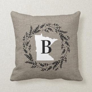 Minnesota Rustic Wreath Monogram Throw Pillow